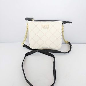 Betsey Johnson White Quilted Small Crossbody Bag